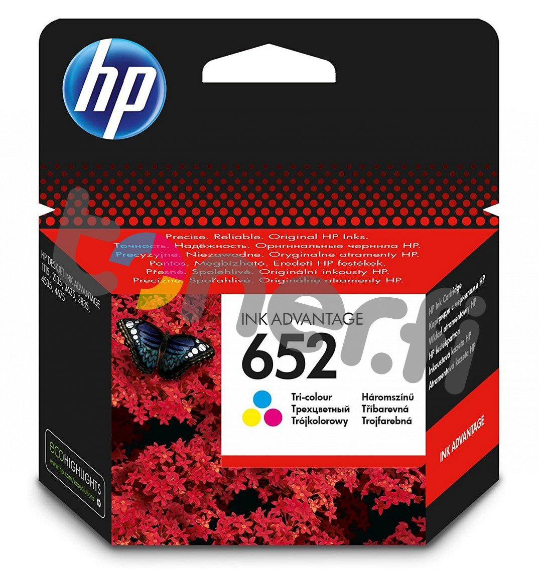 HP 652 Väri Muste N:o F6V24AE