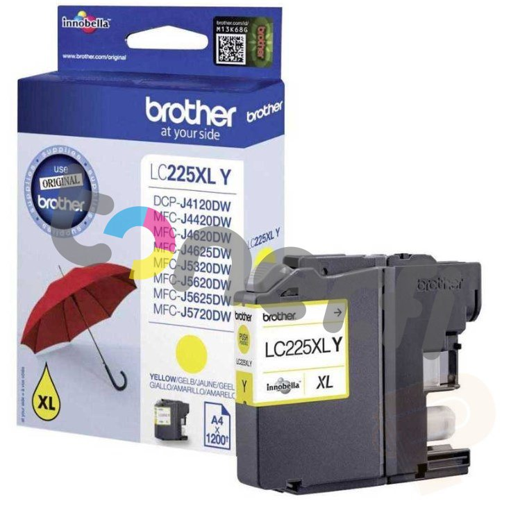 Brother LC225XL-Y Muste Keltainen